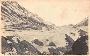 Argentina Cordillera de los Andes Hotel Puente Inea real photo postcard