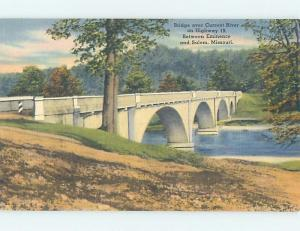 Unused Linen BRIDGE SCENE Eminence To Salem Missouri MO H8184