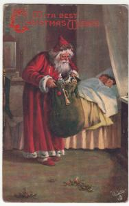 Greetings; With Best Christmas Wishes, Santa PPC, Tuck 8412, 1906 PMK