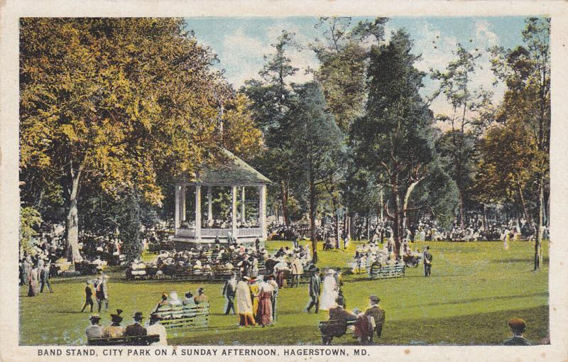 HAGERSTOWN , Maryland, 1900-10s; Band Stand, City Park on a Sunday afternoon