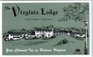 ALEXANDRIA, VA Virginia    The VIRGINIA LODGE    c1940s   Roadside     Postcard