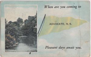1920s ADVOCATE Nova Scotia Canada PENNANT Postcard Pleasant Days!