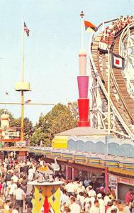 Palisades Park NJ Amusement Park Midway and Cyclone Roller Coaster Postcard