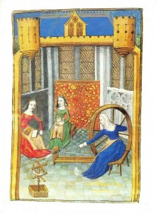 Art Postcard Carding and Spinning Giovanni Boccaccio Des Cleres et nobles femmes