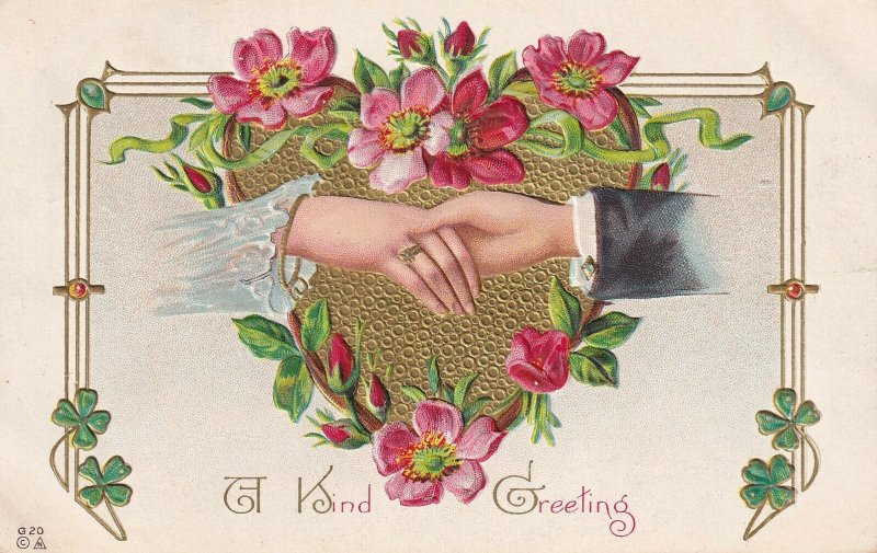 HANDS, PU-1910; A Kind Greeting, Gold Heart, Red & Pink Flowers, 4 Leaf Clovers