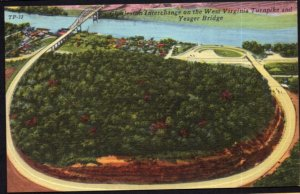 WV Turnpike Aerial Kanawha City Charleson Interchange Yeager Bridge - LINEN
