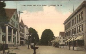 Ashland NH Hotel Ednor & Main Street Hand Colored Postcard