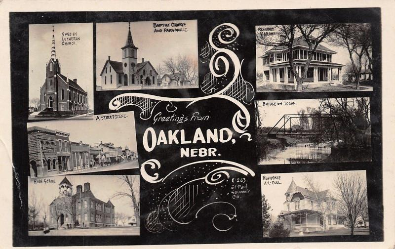 Oakland Nebraska~Main Street~Cull House~Bridge~School~Art Nouveau~c1912 RPPC