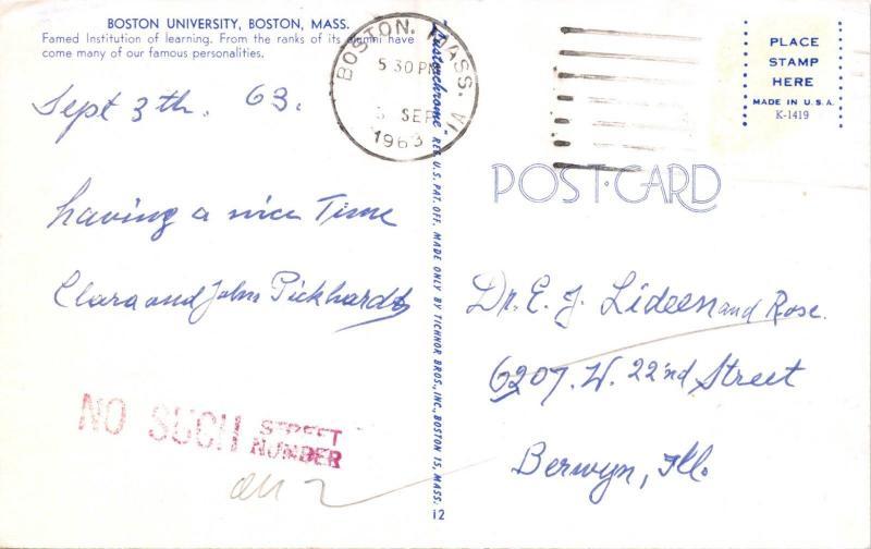 BOSTON UNIVERSITY MASSACHUSETTS MARSH CHAPEL POSTCARD c1960s STUDENTS STUDYING