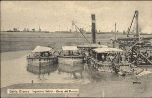 Bahia Blanca Argentina Ships Obras del Puerto c1910 Postcard
