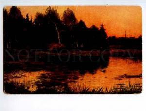 249582 RUSSIA Brovar Sunset on marsh Richard #750 old postcard