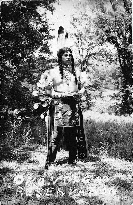 Native American Indian Onondaga Reservation Feathers RPPC Postcard