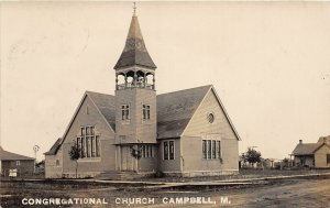 F40/ Campbell Minnesota RPPC Postcard c1910 Congregational Church