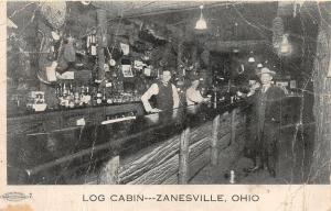 F25/ Zanesville Ohio Postcard c1910 Log Cabin Bar Interior Men