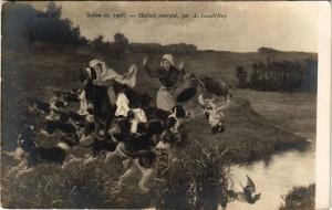 CPA Salon de 1908 A. GAUDEFROY - Hallali courant (217844)