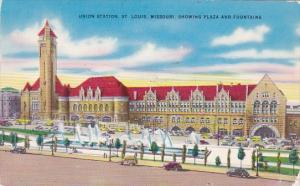 Showing Plaza And Fountains Union Station Saint Louis Missouri 1955