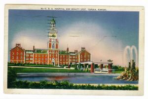 Topeka, Kansas to Scarsdale, New York 1944 used Postcard, SBA Hospital