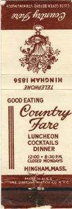 Hingham, Mass/MA Matchcover, Country Fare Restaurant