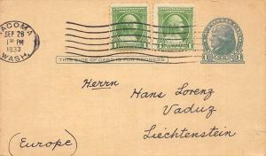 Tacoma, Wash. Jefferson 1 Cent Postage Stamp, Postcard 1933