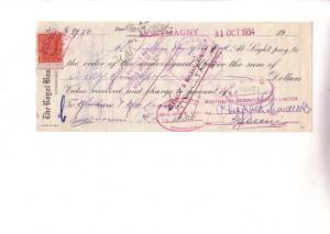 Royal Bank 1934, Cheque with Stamp Montmagny Broom Quebec, Canada