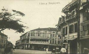 singapore, Street Scene, People and Rickshaw (1910s) RPPC - Rare Czech Edition