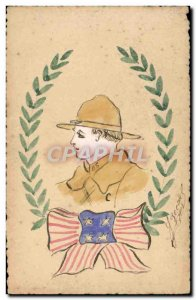Old Postcard Scout Scout Jamboree (drawing hand)