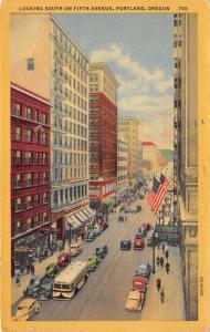 Portland Oregon~Fifth Avenue South~Crowds @ Storefronts~1940s Bus & Cars