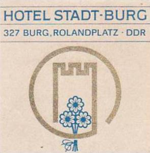 GERMANY DDR BURG HOTEL STADT BURG VINTAGE LUGGAGE LABEL