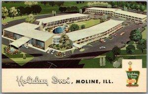 1960s MOLINE, Illinois Postcard HOLIDAY INN MOTEL Highway 150 Roadside Chrome