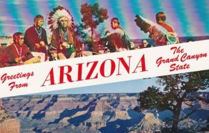 Arizona Greetings From The Grand Canyon State Hopi Indians and Canyon From Rim