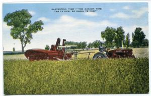 Tractor Threshing Harvest Time Farming linen postcard