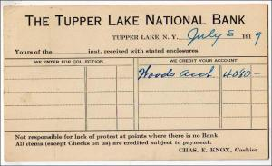 NY - The Tupper Lake National Bank 1919