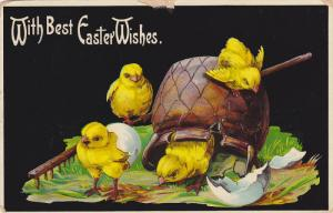 EASTER; With Best Wishes, Chicks playing around a pot, egg shells, 00-10s