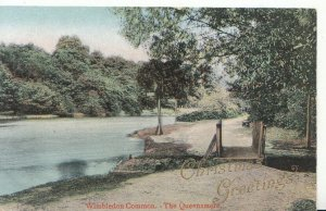 London Postcard - Wimbledon Common, Queensmere, Christmas Greetings - Ref 4120A