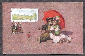 5268 - DRESSED ANIMALS c1905 Bears with Umbrella, Rabbits. Signed ST JOHN