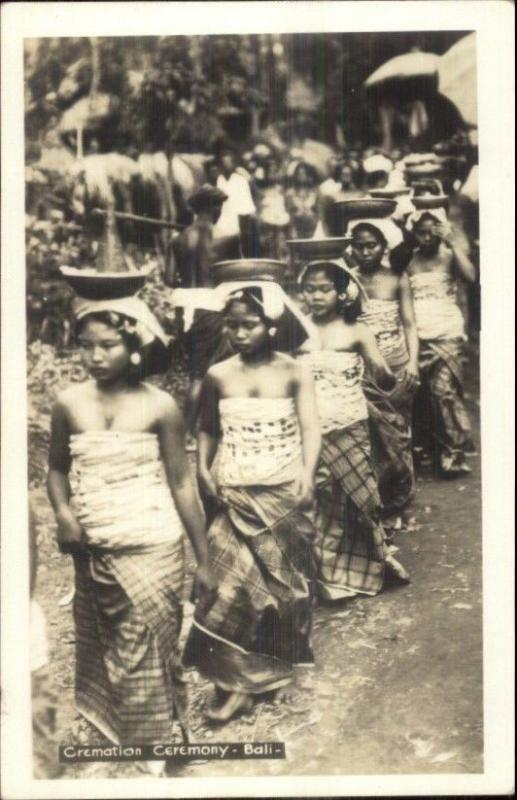 Bali Indonesia Cremation Ceremony Real Photo Postcard Canadian Pacific Cruise