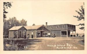 Rockwood ME Moose Head Inn Tydol Gas Station Croft Ale Sign Real Photo Postcard