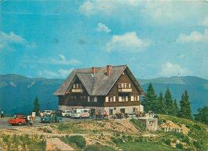 Postcard Romania Sinaia cabana cota 1300 peisaj montan hotel panoramic masini