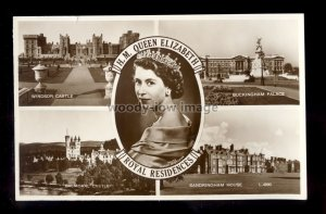 r4151 - Multiview, The Queen with Four Royal Residences c1950s - postcard
