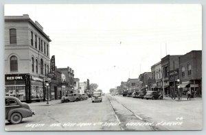 Wahpeton ND~Dakota Avenue~Red Owl Grocery Store~Vertin Funeral Service~1940 RPPC