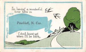 Pinebluff North Carolina Scenic Tree Cartoon Ribbon Antique Postcards K39108