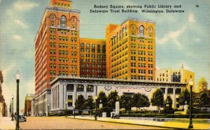 Delaware Wilmington Rodney Square Showing Public Library and Delaware Trust B...