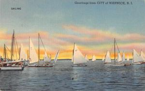 Warwick Rhode Island Greetings Sailing Vintage Postcard JE228672