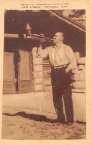 Indianola Iowa~Lake Ahquabi~Christian Youth Camp~Reveille~Man Plays Trumpet~'30s