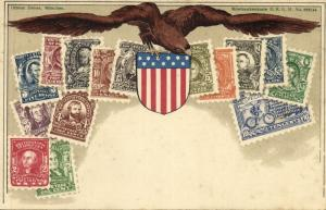 United States of America, Stamp Collection, Coat of Arms (1899) Postcard