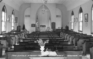 Nashua IA Christian & American Flags in Front of Little Brown Church RPPC c1950