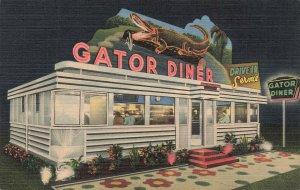 St Petersburg FL Gator Diner Central Ave. At 20th Street Linen Postcard