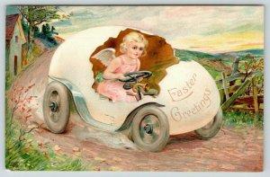 Easter Fantasy~Lil Pink Angel Girl Speeds Along Country Road in Egg Car~Emboss