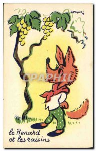 Old Postcard The fox and the grapes