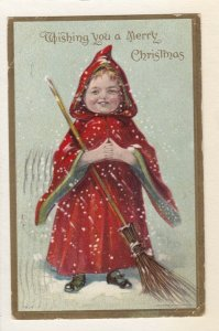 CHRISTMAS, PU-1909; Little Girl wearing Red Hooded Coat, Broom